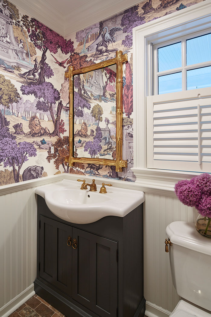 Bathroom Design With Purple Wallpaper