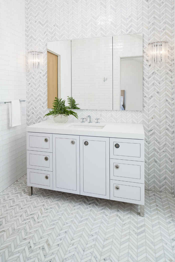 Bathroom With Gray Herringbone Tile