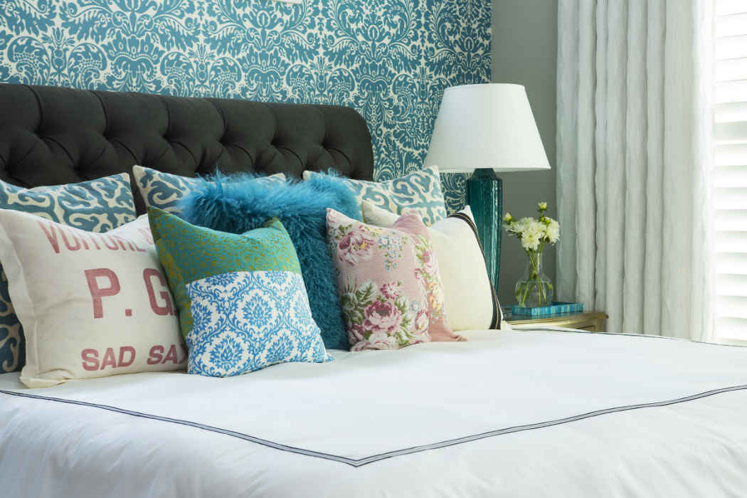 Bedroom Interior Design With Printed Pillows