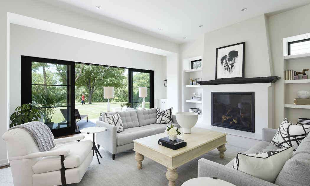 Black And White Family Room