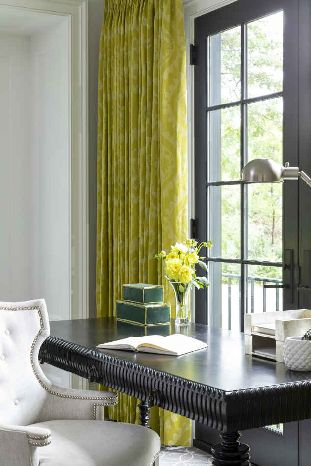 Black Desk With Chartreuse Window Curtains