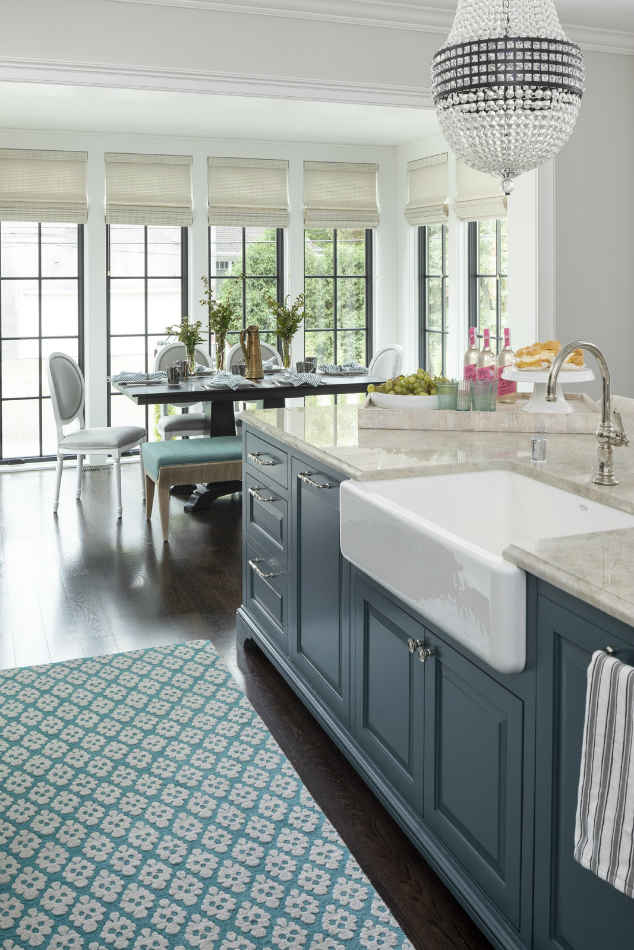 Blue Kitchen Island With Farmhouse Sink