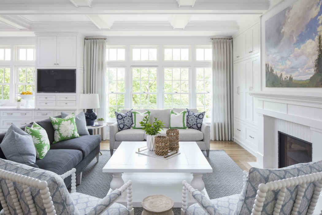 Bright White Living Room With Large Windows