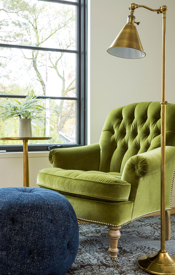 Chartreuse Chair And Brass Lamp Sitting Area