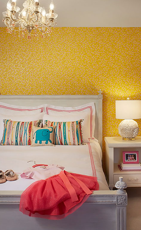 Childrens Bedroom With Yellow Wallpaper