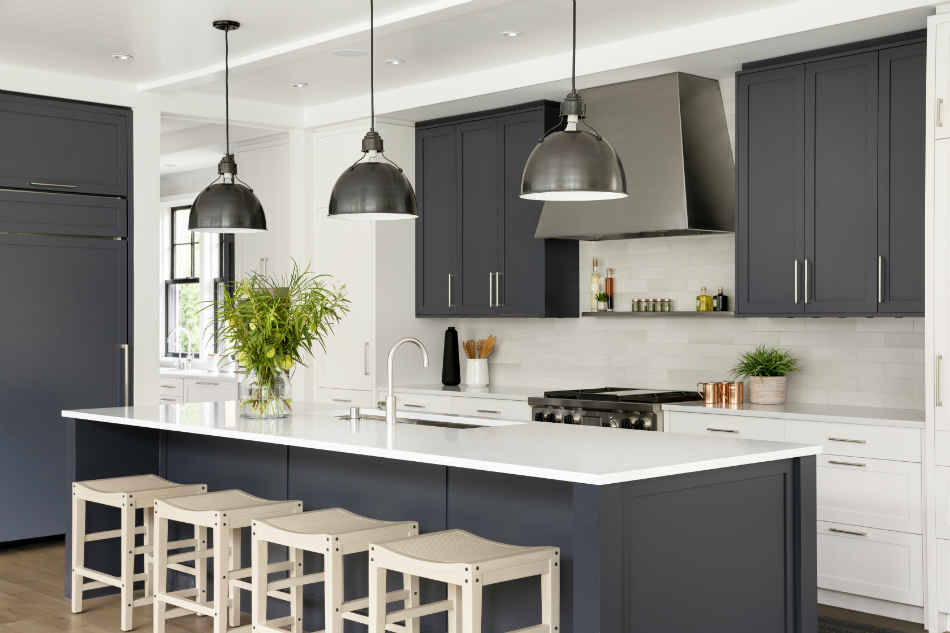 Deep Blue Kitchen Design With Wooden Barstools