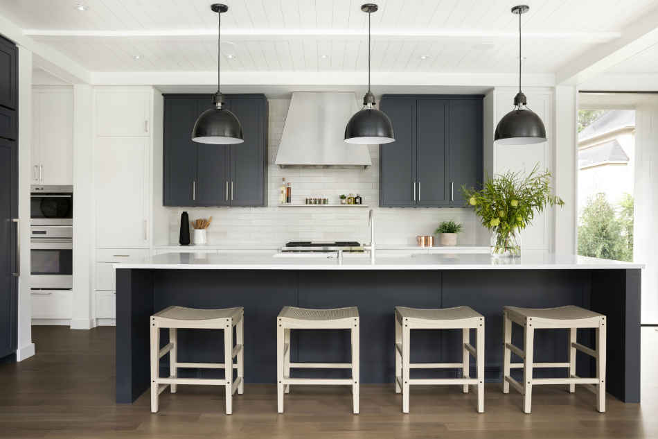 Deep Blue Kitchen Island With Barstools