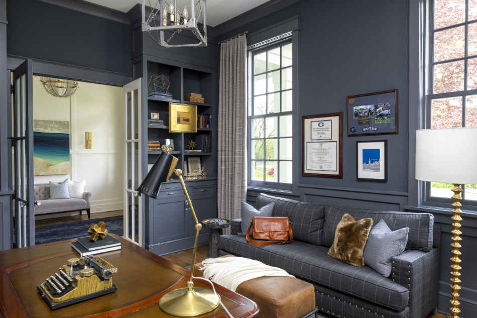 Deep Blue Office With Built Ins