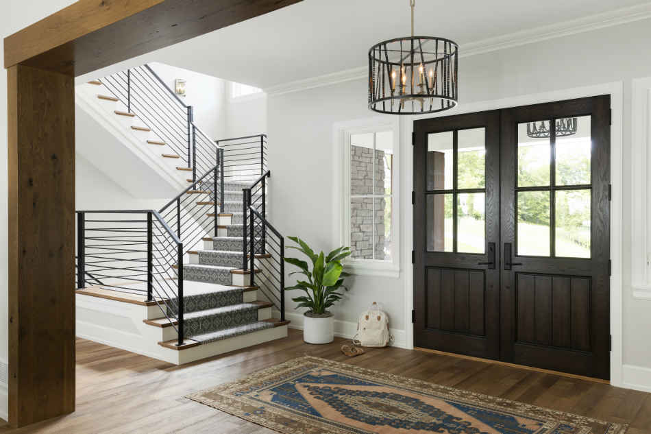 Entryway Interior Design With Wood Tones