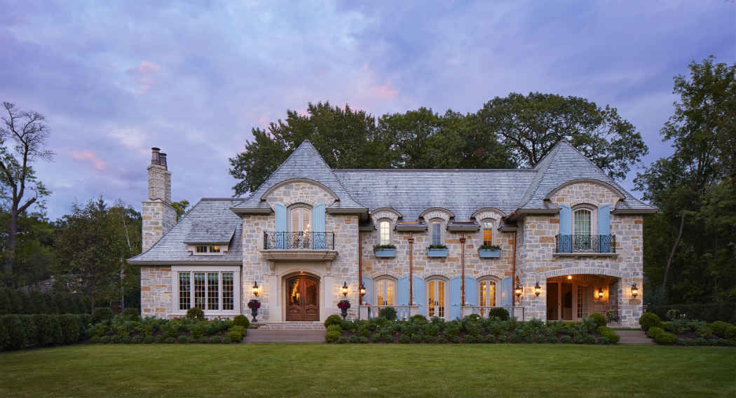 Exterior Home Design With Pale Blue Shutters