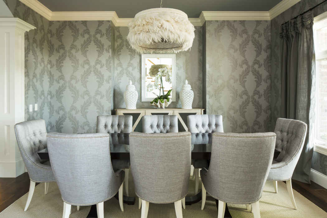 Formal Dining Room Design With Gray Wallpaper