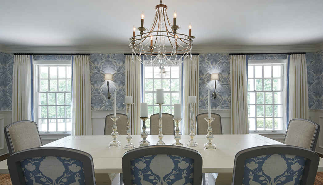 Formal Dining Room Interior Design With Blue Wallpaper