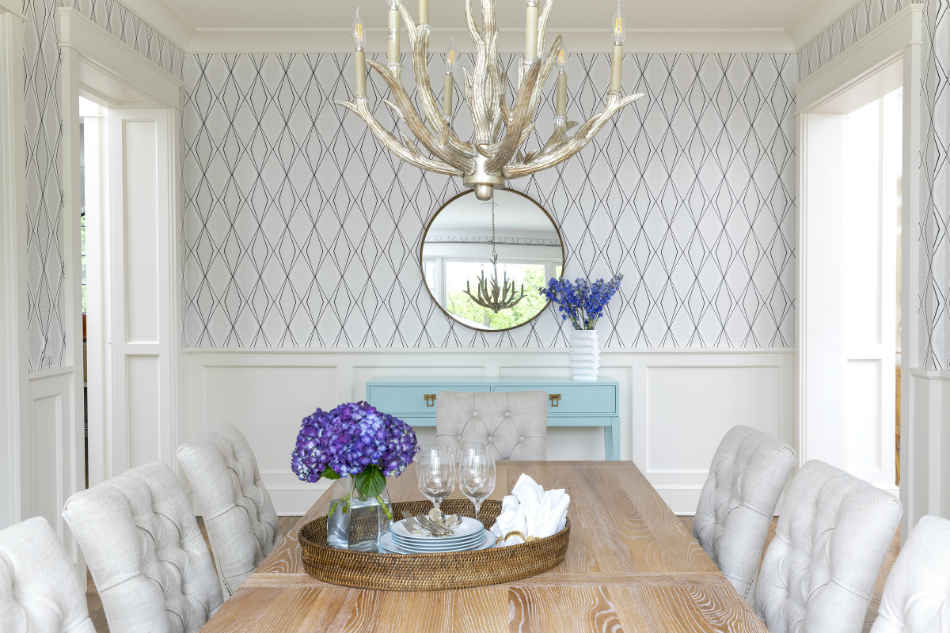 Formal Dining Room With Printed Wallpaper