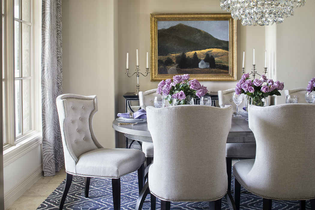 Formal Dining Room With Purple Accents