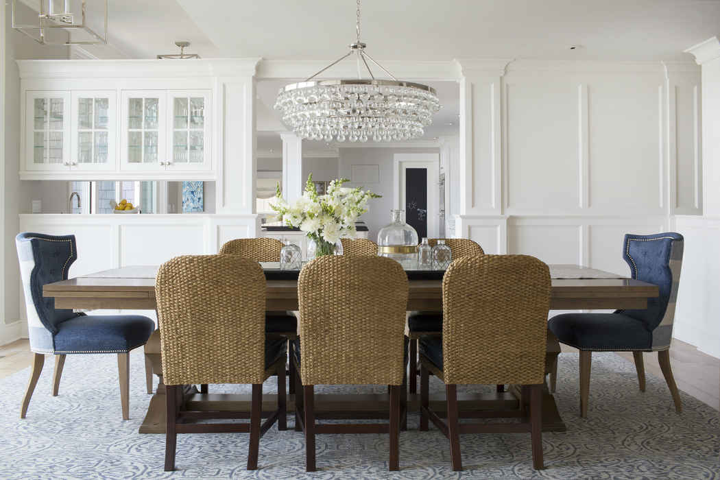 Formal Dining Room With Textured Chairs