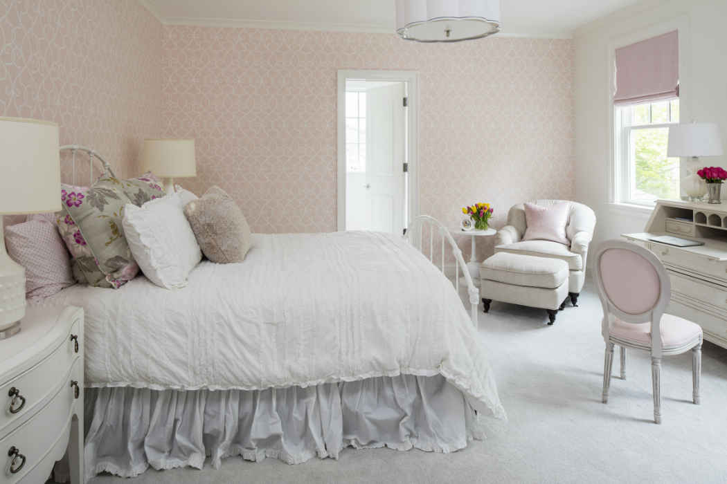 Girls Bedroom With Pale Pink Wallpaper