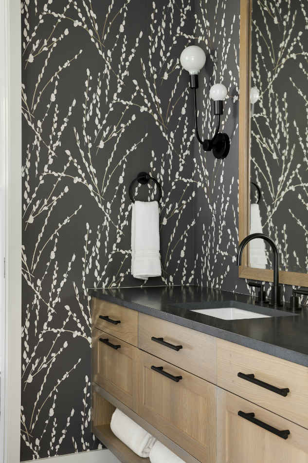 Guest Bathroom With Black And White Wallpaper