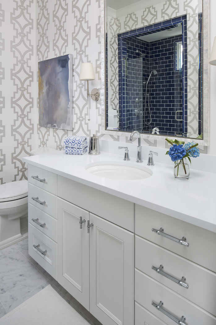 Guest Bathroom With Printed Wallpaper