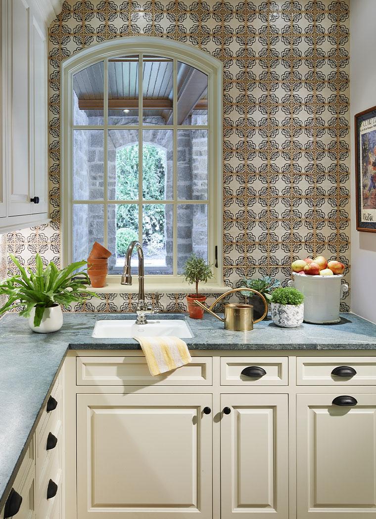 Kitchen Galley With Printed Tile Backsplash