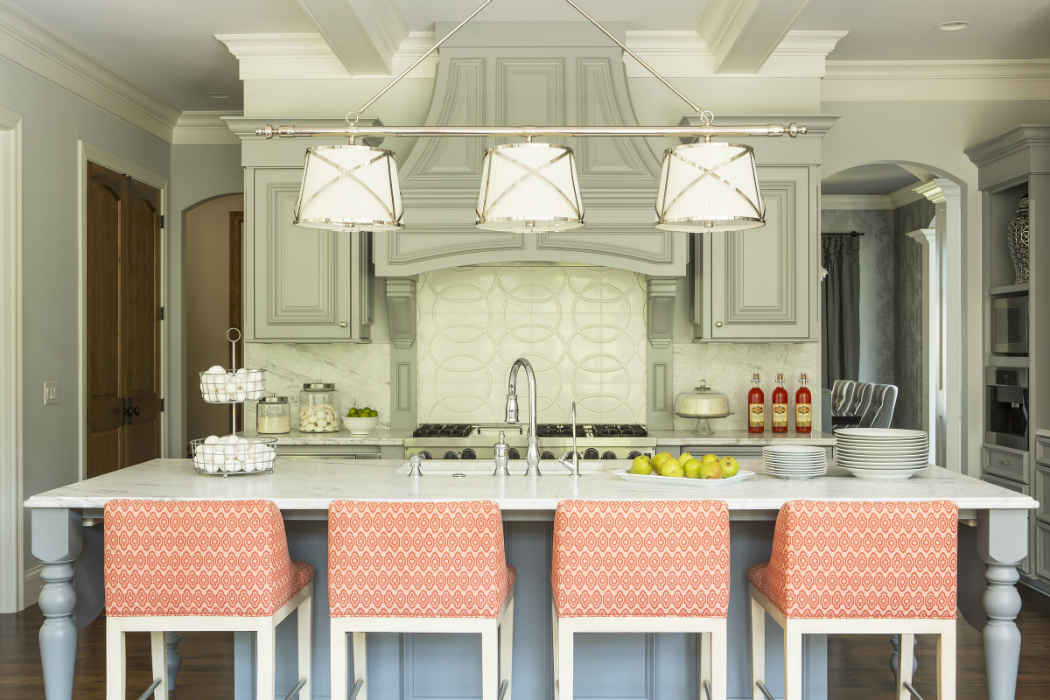 Kitchen Island With Peach Stools