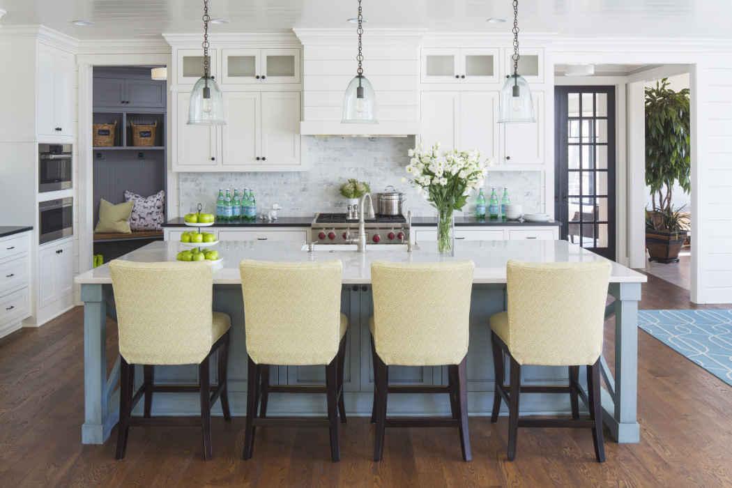 Kitchen With Blue Island Design
