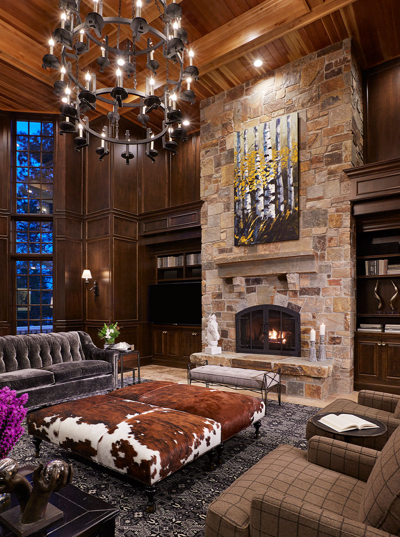 Large Statement Stone Fireplace Living Room Design
