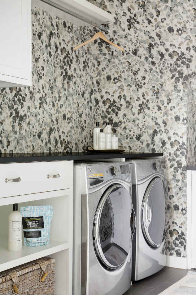 Laundry Room With Printed Wallpaper