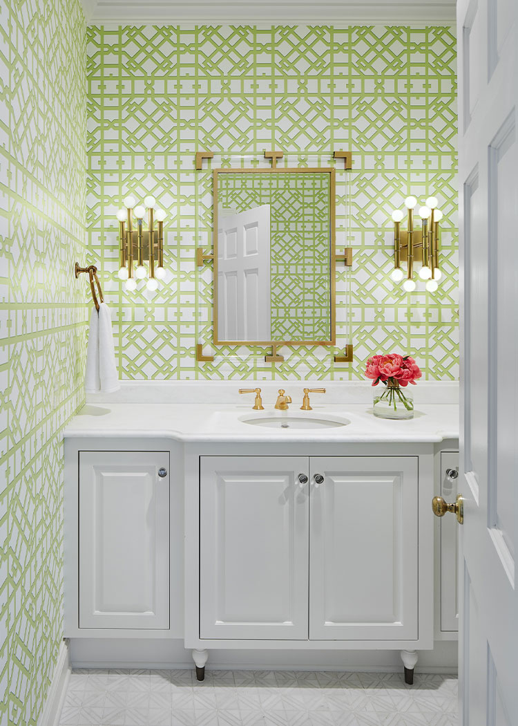 Lime Green Wallpaper Powder Room