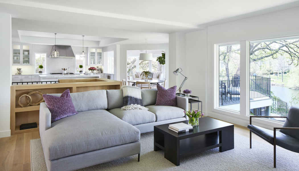 Living Room Design With Purple Accents