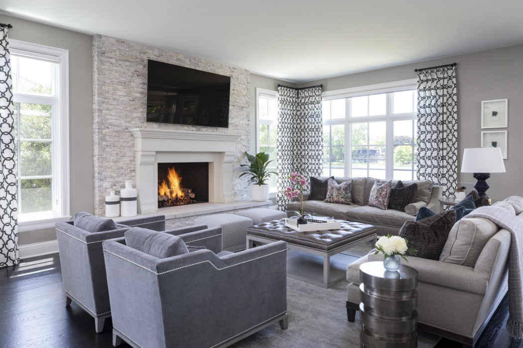 Living Room Design With Stone Fireplace Accent