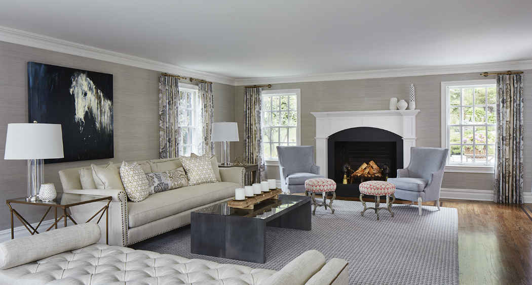 Living Room Design With White Fireplace