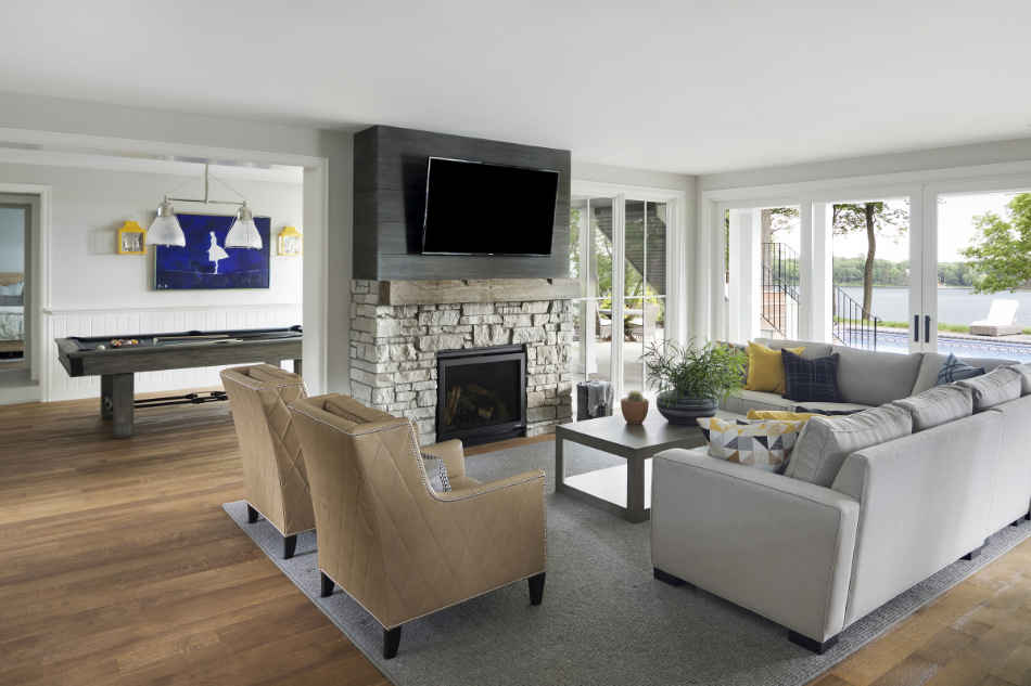 Living Room Interior Design With Stone Fireplace