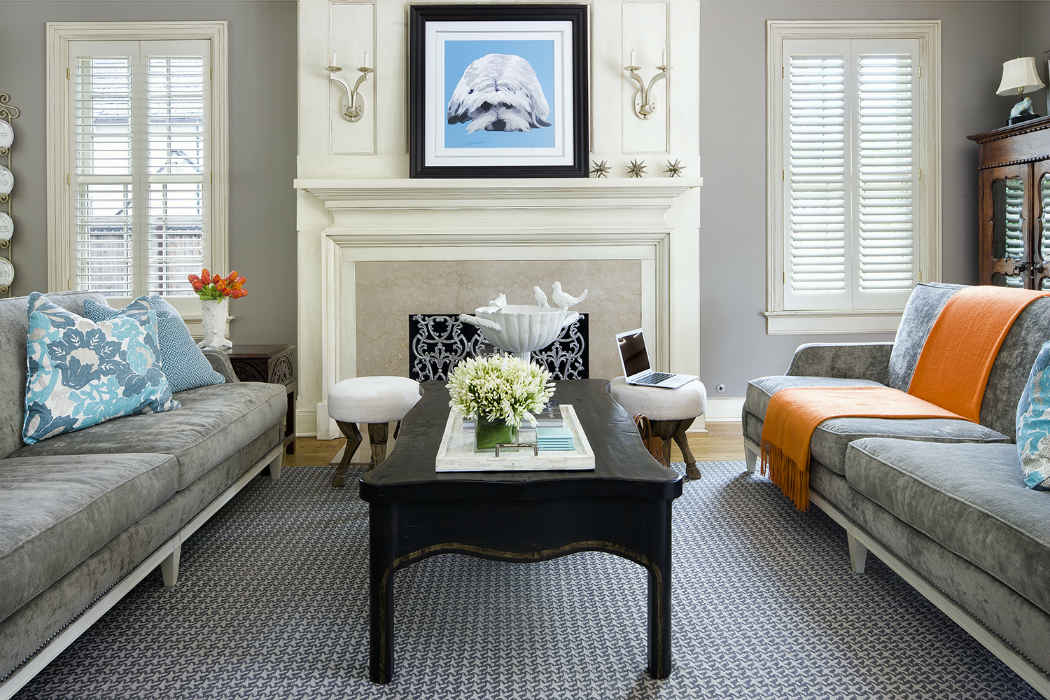 Living Room With Blue And Orange Accents