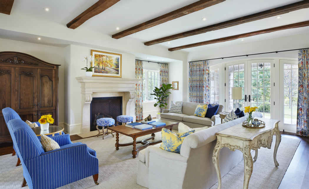 Living Room With Blue And Yellow Accents