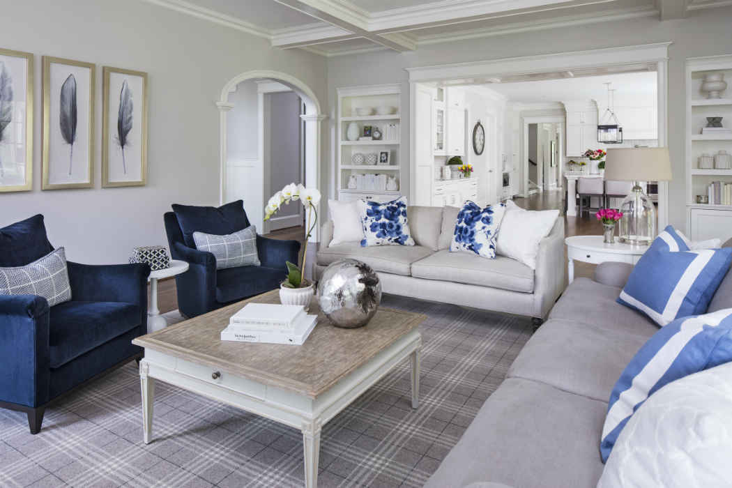 Living Room With Pale Gray And Blue Accents