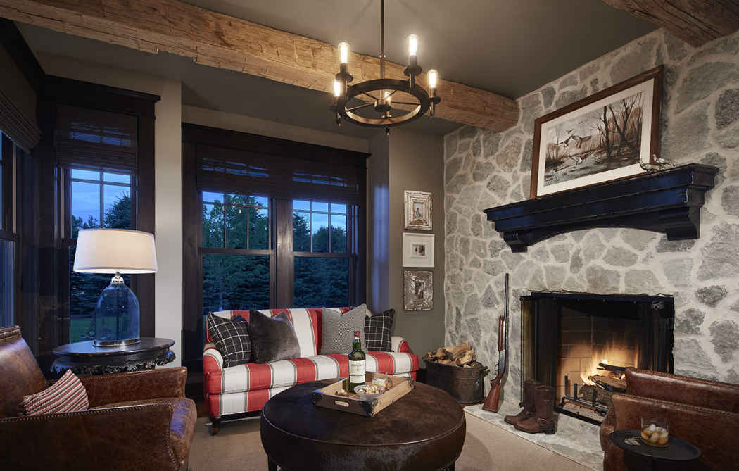 Man Cave Interior Design With Stone Fireplace
