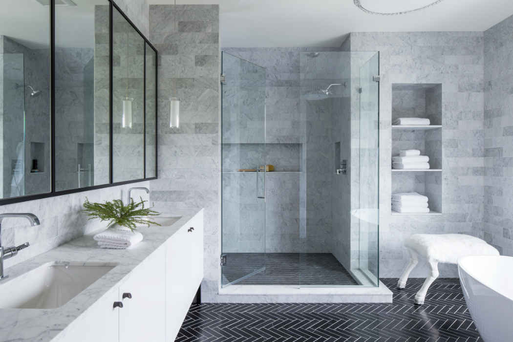 Master Bath With Black Herringbone Tile