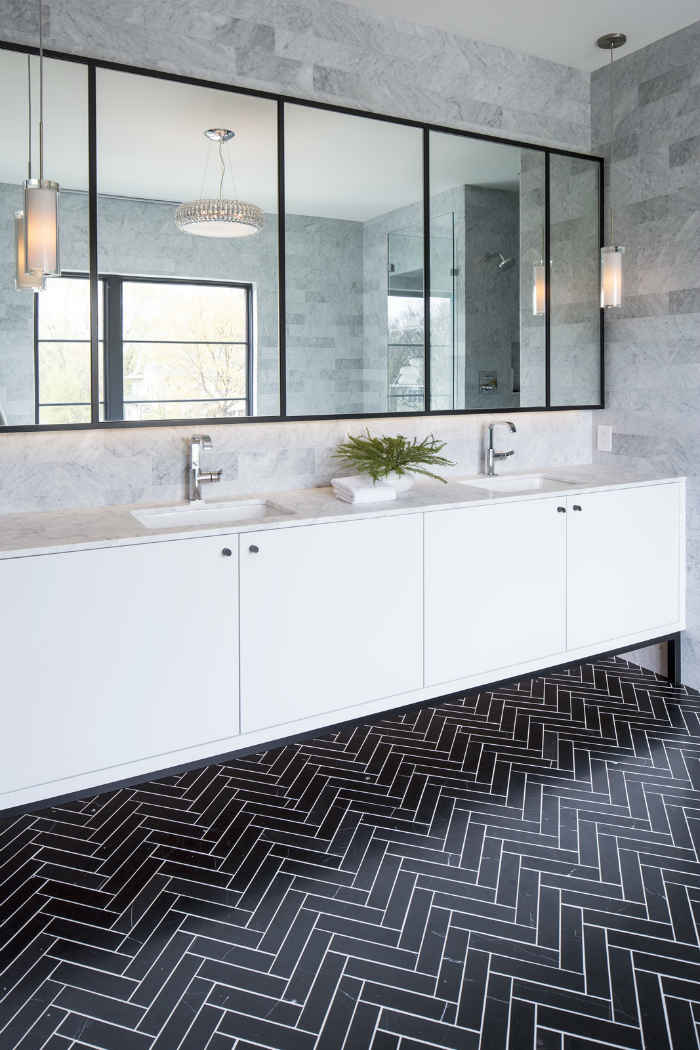 Master Bath With Clean White Double Vanity