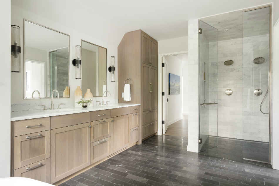 Master Bathroom Design With Wooden Double Vanity
