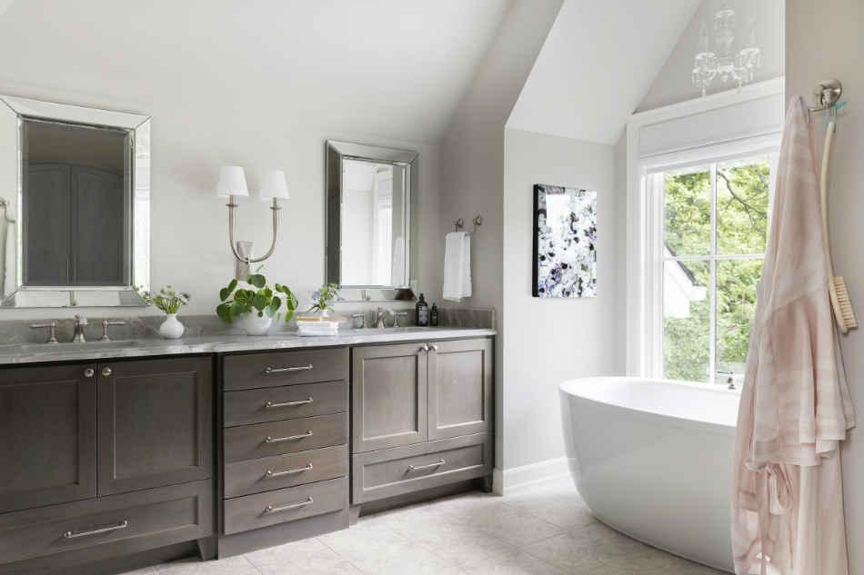Master Bathroom Suite With Wooden Double Vanity
