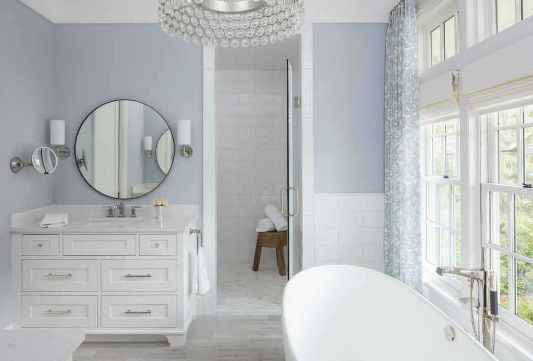 Master Bathroom With Powder Blue Walls