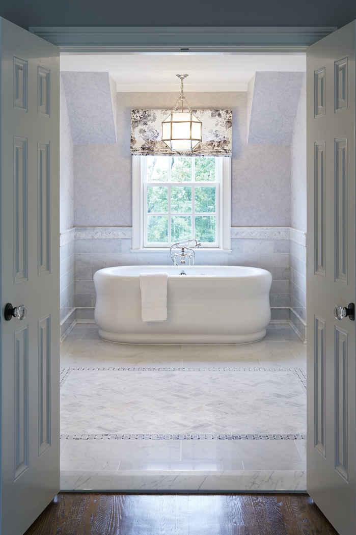 Master Bathroom With Wallpaper Interior Design