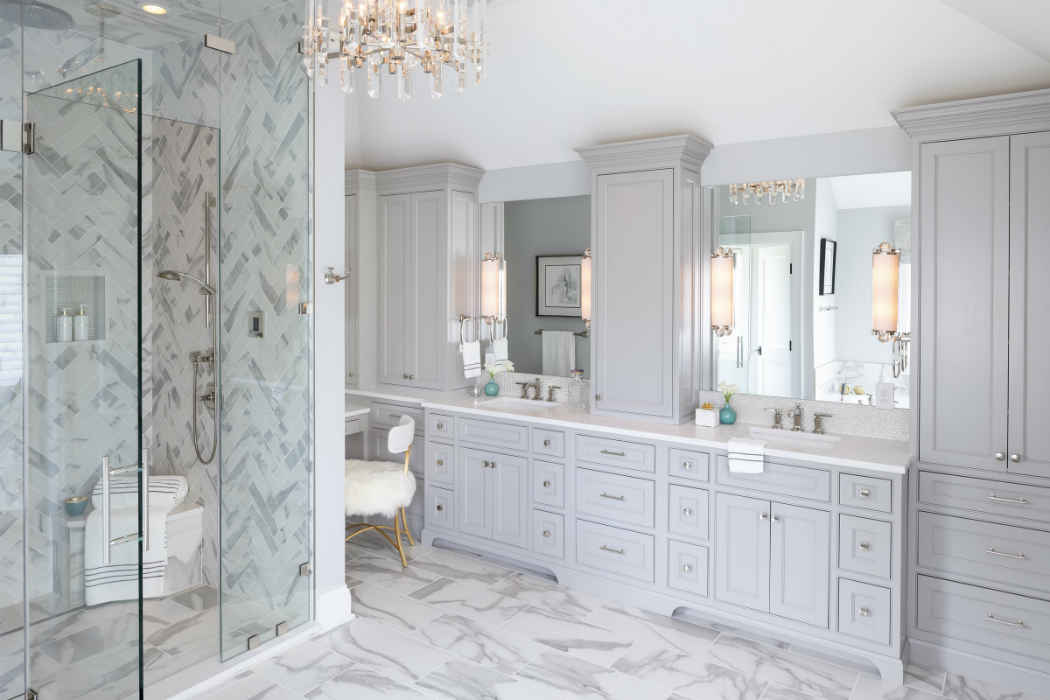 Master Bathroom With White Double Vanity