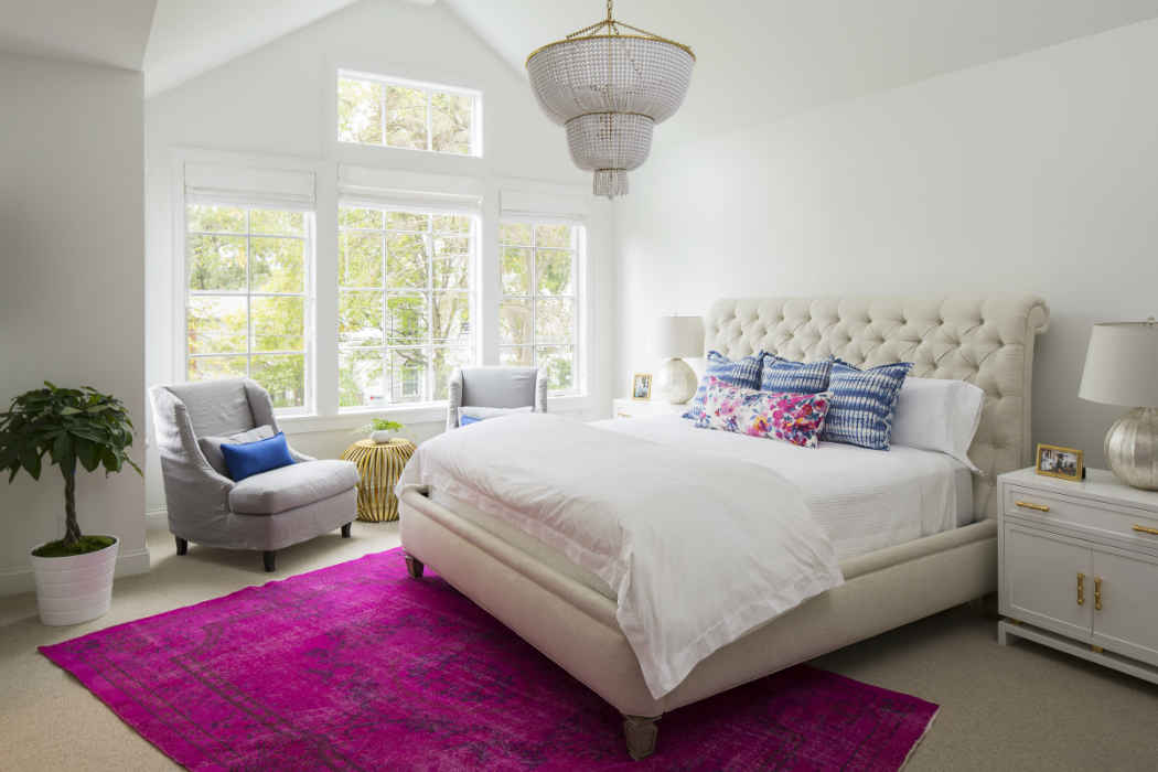 Master Bedroom With Pops Of Color Interior Design
