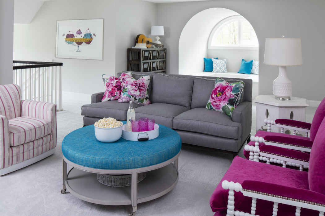Movie Room With Pops Of Pink