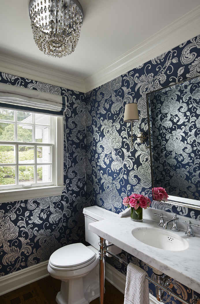 Navy Blue Wallpaper Powder Room Design