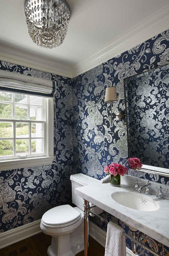 Navy Blue Wallpaper Powder Room Design