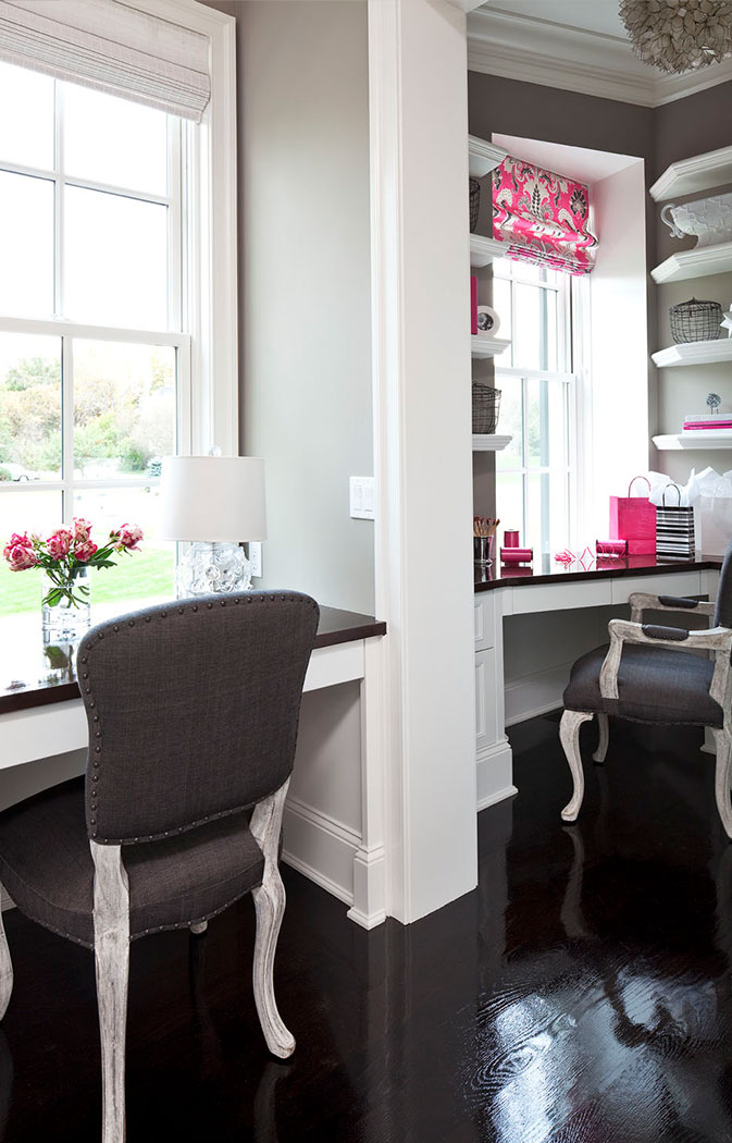 Office With Pops Of Pink