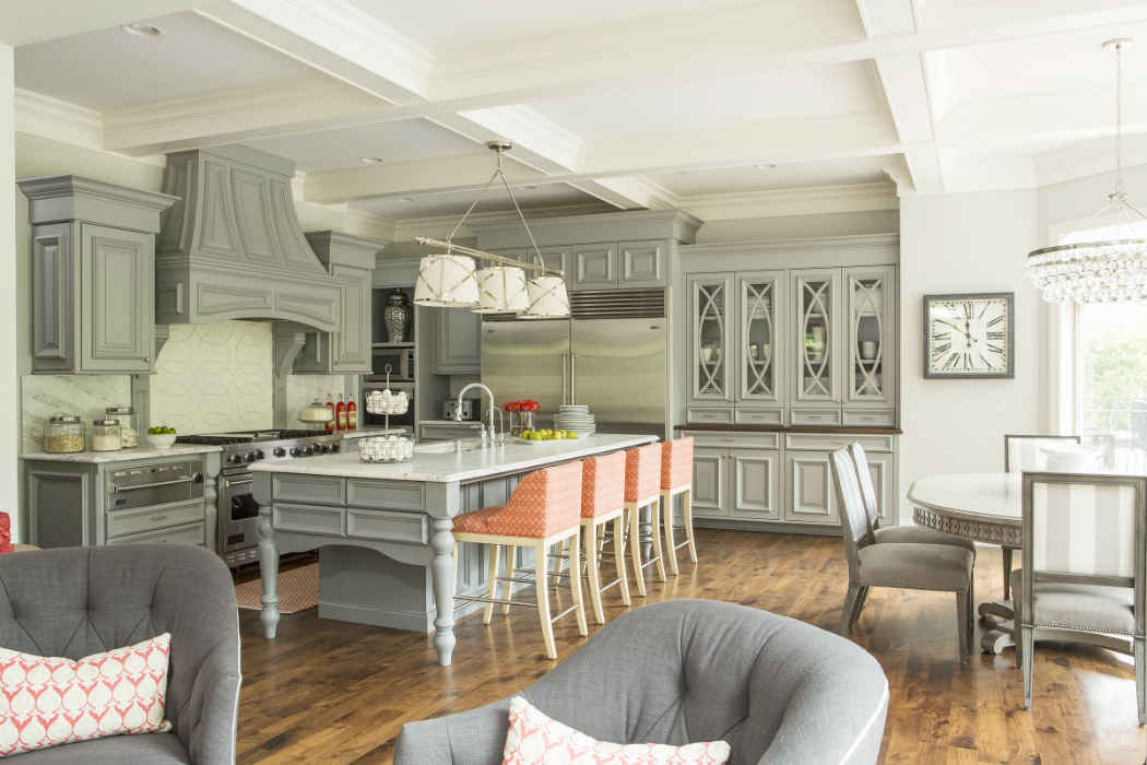 Pale Gray Kitchen With Peach Accents