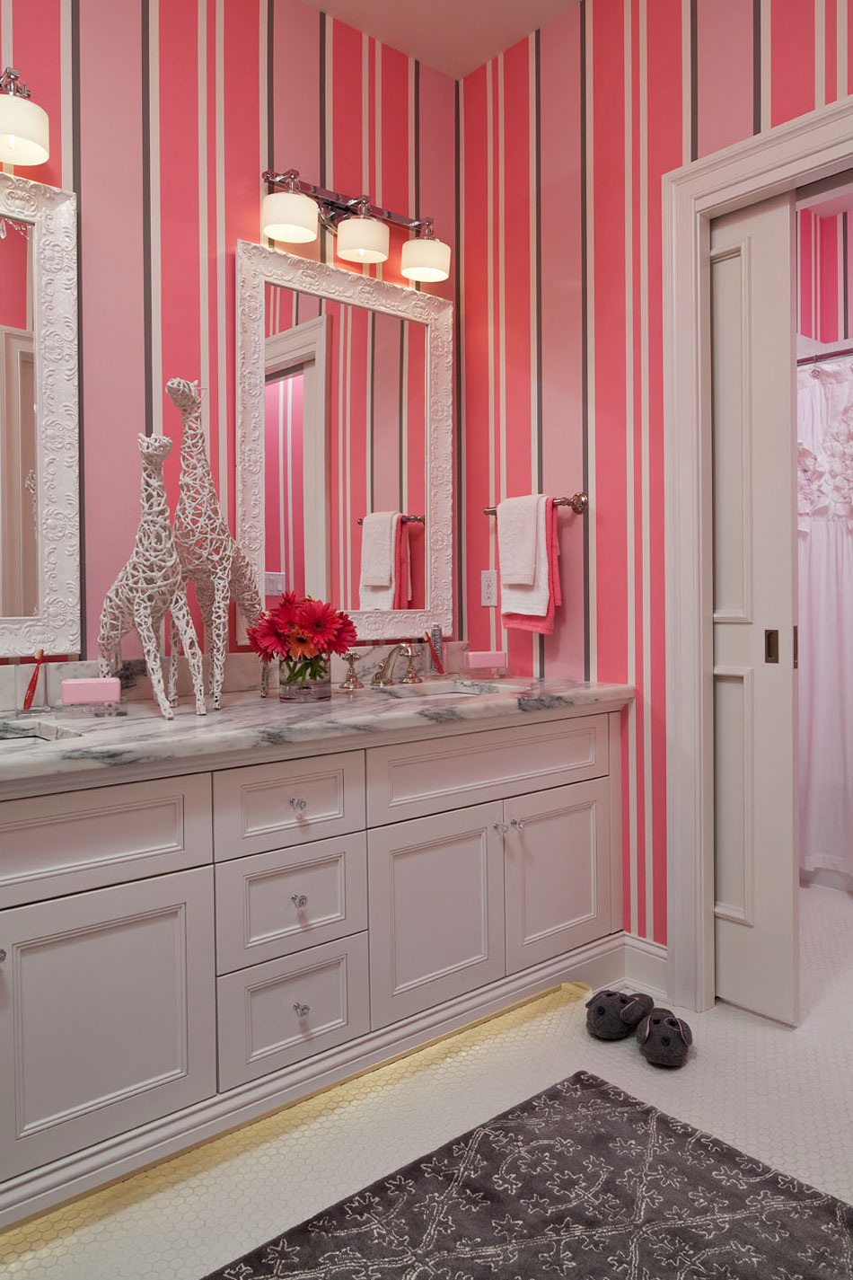 Pink Kids Bathroom With Wallpaper